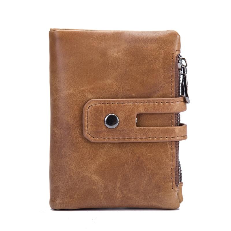 Herrenbekleidung & Zubehör Männer Brieftasche Crazy Horse Echtes Leder Männliche Kurze Brieftasche Dünne Business Kreditkarte Halter Retro Doppel-reißverschluss Mini Münze Tasche