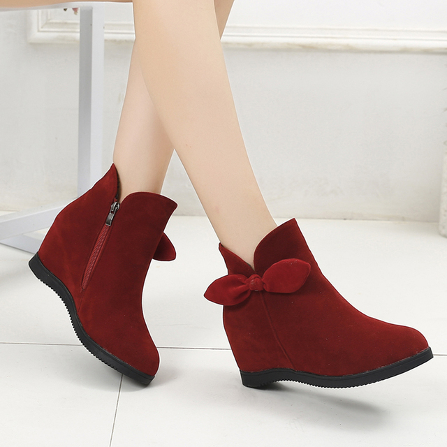 23f85d16d98 2018 New Style Winter Women Boots Bow Knot Wedges Boots Designer Shoes Woman  Increasing Booties Ladies Black Boot botas 6828