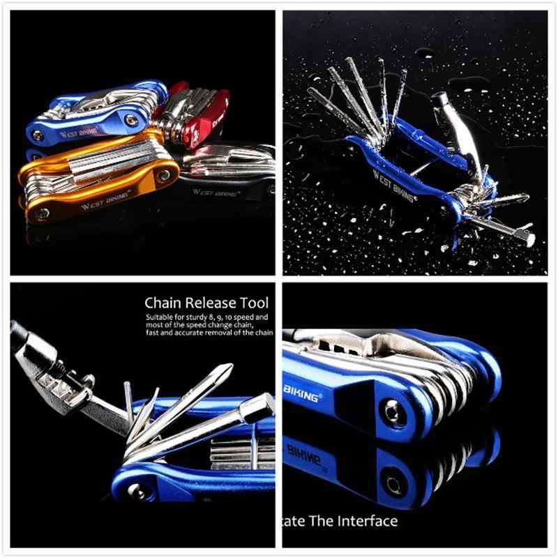 WEST vélo Multitool outils de réparation de vélo chaîne hexagonale clé à rayons tournevis 10 en 1 Kit ensemble route vtt vélo cyclisme Multi outils