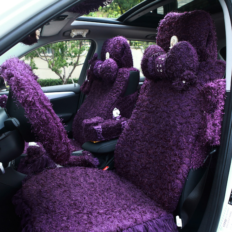 Best Car Seat Covers >> girls women's fashion cute cartoon purple Lace roses pink universal car seat cover set-in ...