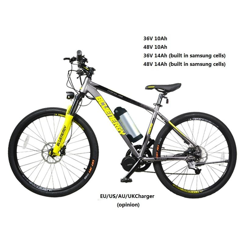 E Bike Lithium Battery 36v 48v 10ah 14ah For Bafang Mid Hub Motor