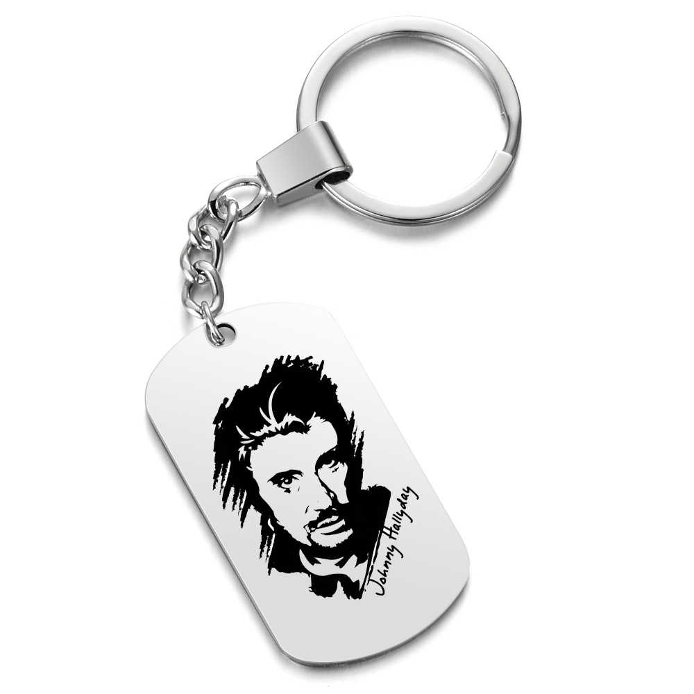 Personalized Customized Photo Engrave rock Johnny Hallyday Keychains Stainless Steel Keepsake Key Chains For Gifts