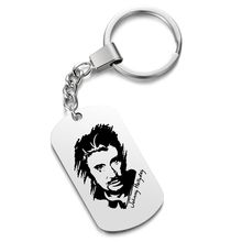 Keychains Customized Photo-Engrave Gifts Stainless-Steel for Keepsake Rock Johnny Hallyday