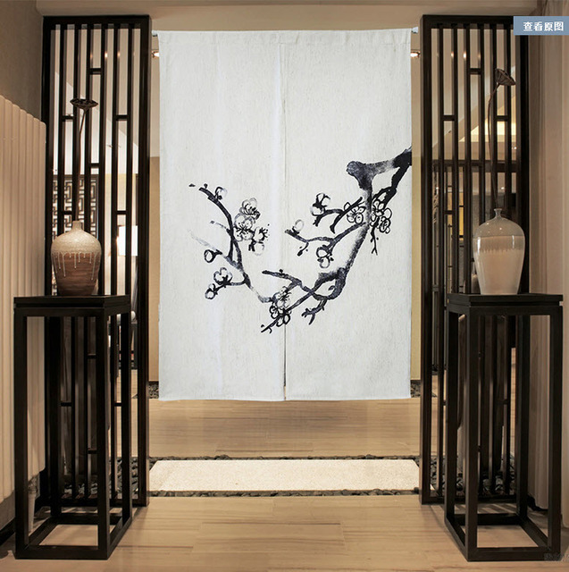 Chinese Painting Plum Sun Shade Cotton Curtain Kitchen Bedroom Living Room Entrance Cloth Curtains Home Decoration