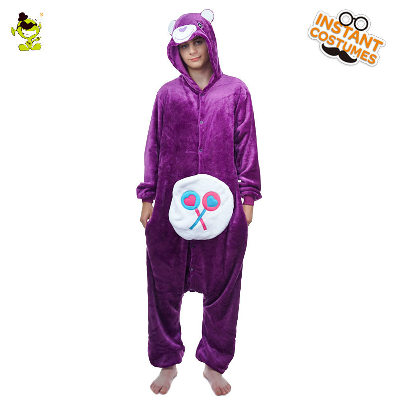 Winter Mens Bear Pajamas Costume Performance Purple Cartoon Sleepwear Cosplay Costume Party One Size Silk Bear Pajamas Costume