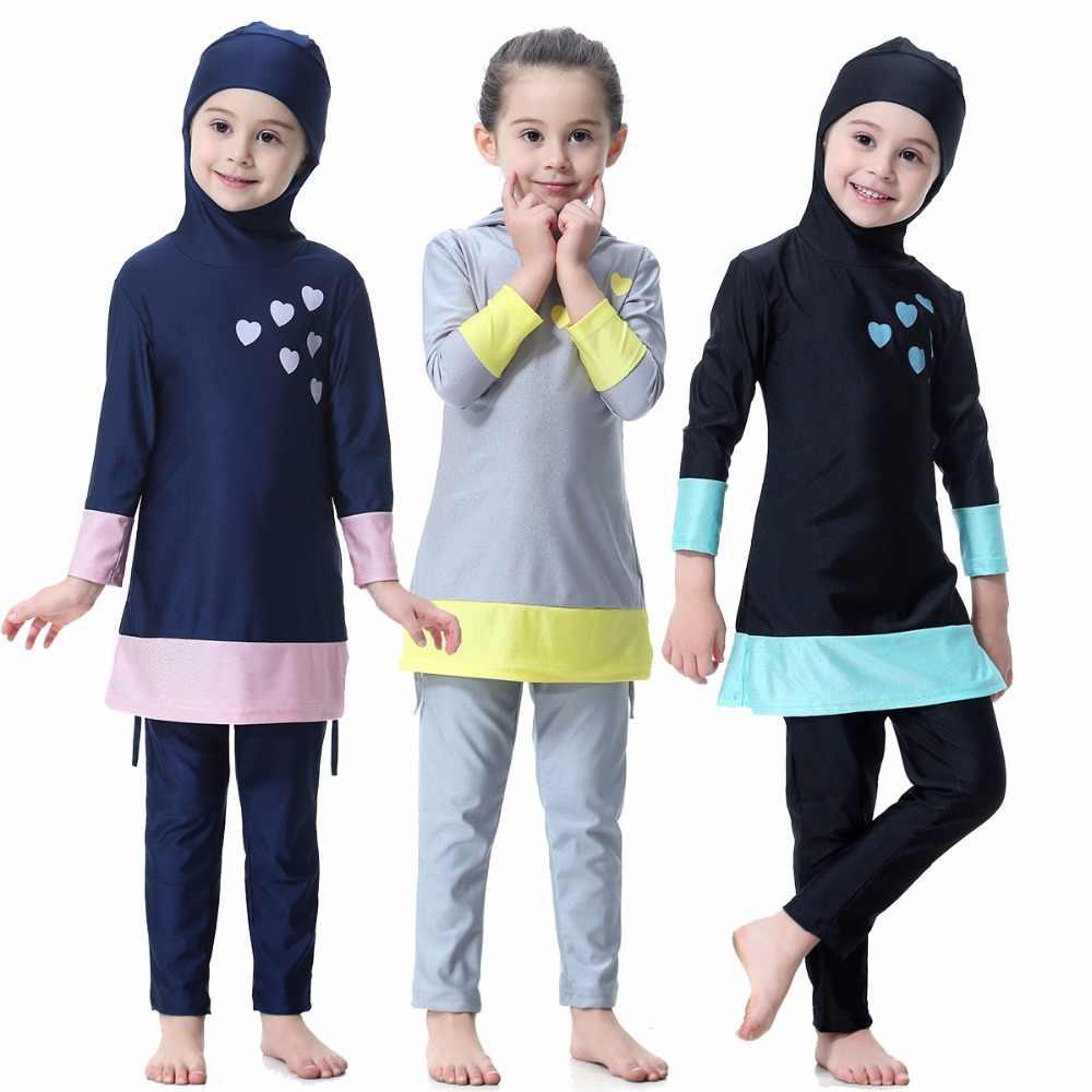 9bee60c9fb84 Girls Solid Muslim Swimwear Two-piece Swimsuits Long Sleeve Full Coverage  Swimming Wear Islamic Children