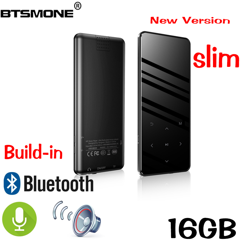 Btsmone new version touch screen slim mp3 player Built-in Bluetooth and 16/32GB with loudly Speaker FM /radio expand up to 128GB