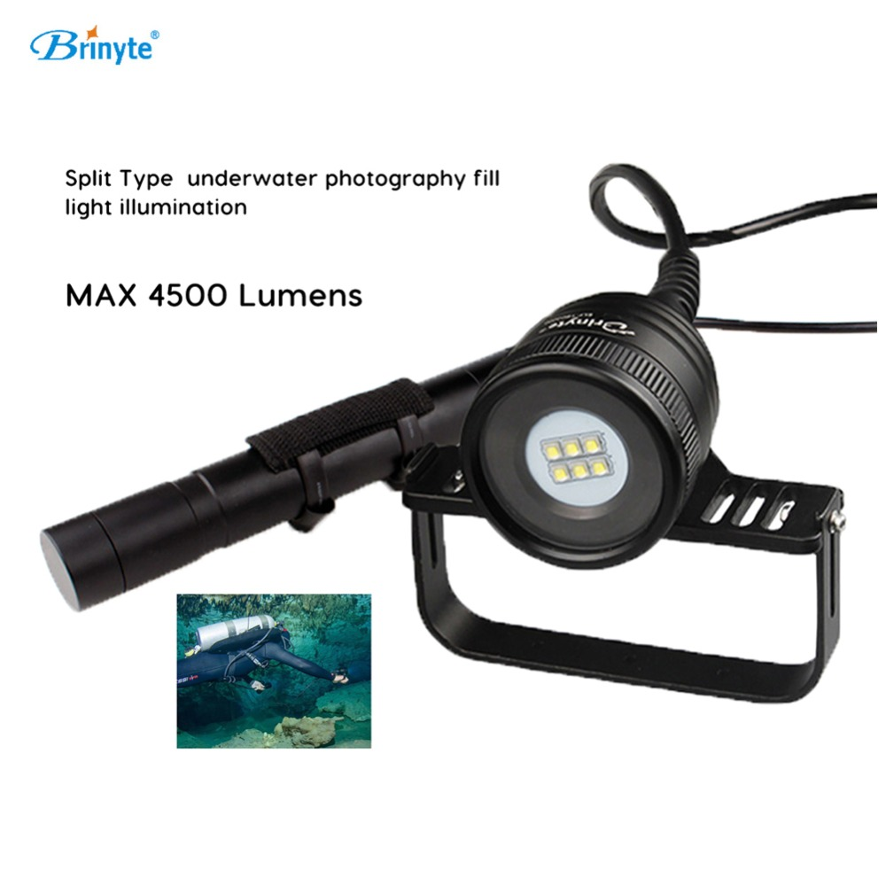 Brinyte Scuba Diving Flashlight 6*CREE XM-L2(U4) LED Professional Dive Underwater Photography Video Split Type Fill Light DIV10W цены