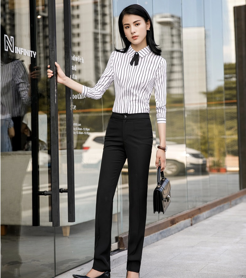 Formal Uniform Styles Pantsuits With 2 Piece Blouses And Pants For Women Business Work Wear Office Pants Suits Fashion Striped