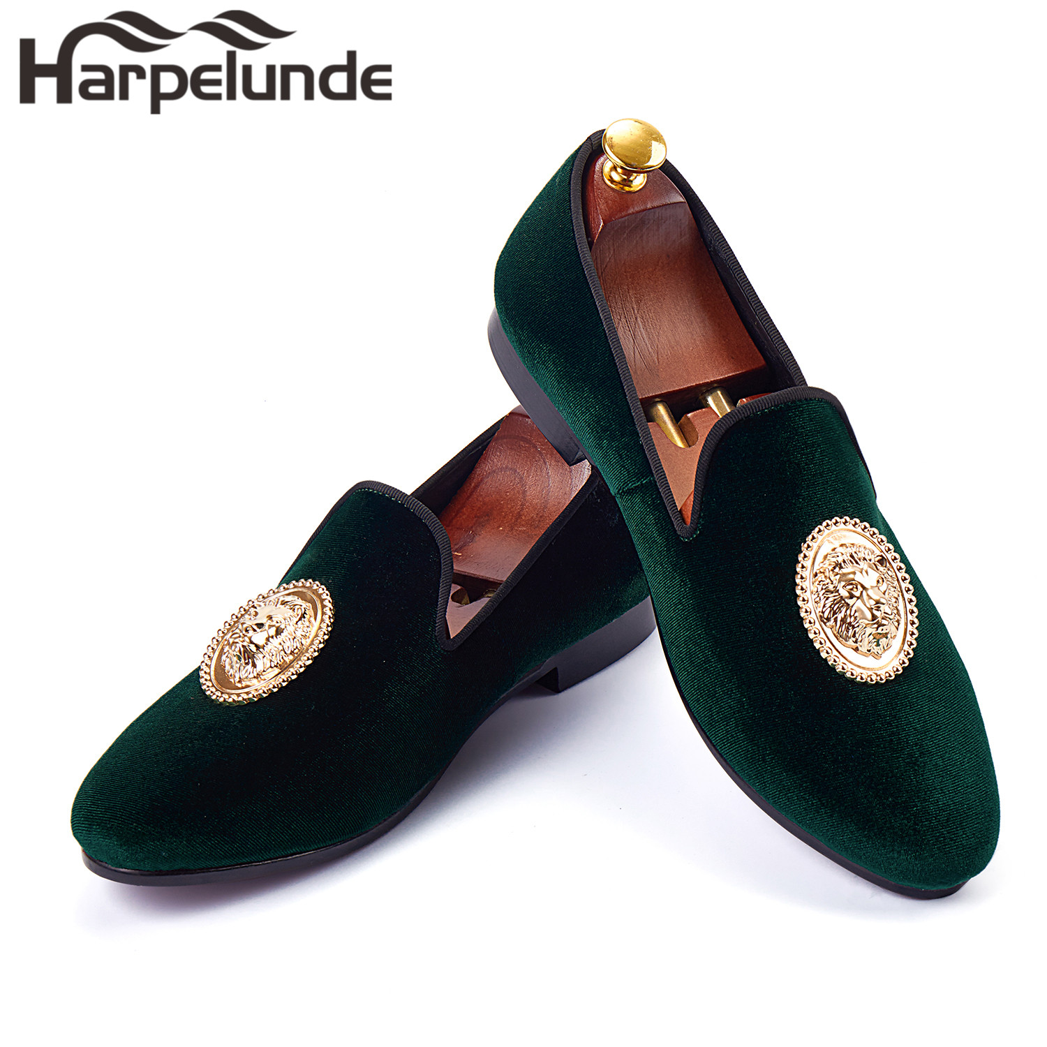Harpelunde Animal Buckle Men Formal Shoes Green Velvet Loafer Shoes Handmade Smoking Slippers Size 6-14 meotina women boots high heels thigh high boots winter sexy over knee boots ladies autumn shoes black white shoes big size 10 43