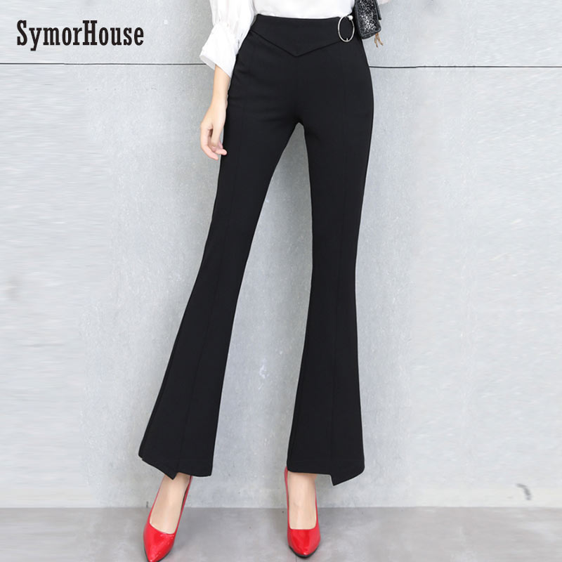 SymorHouse Black Flare   Pants   High Waist Trousers Women New Slim Office   Pants     Capris   2019 Autumn Elegant Flare Leg   Pants