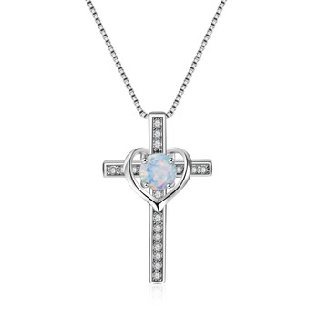 Beautiful Elegant 925 Sterling-Silver White Fire Opal Heart & Cross Pendant Necklaces For Women Crystal Collar Jewelry Gifts