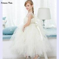 小売フラワーガールのドレスかわいい女の子チュチュドレスクリーミー白いレースチュール女の子プリンセスドレス子供パーティーウエディングガウン