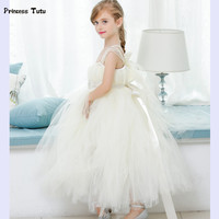 Retail Flower Girl Dresses For Weddings Cute Girls Tutu Dress Creamy White Lace Tulle Girls Princess Dress Kids Party Prom Gowns