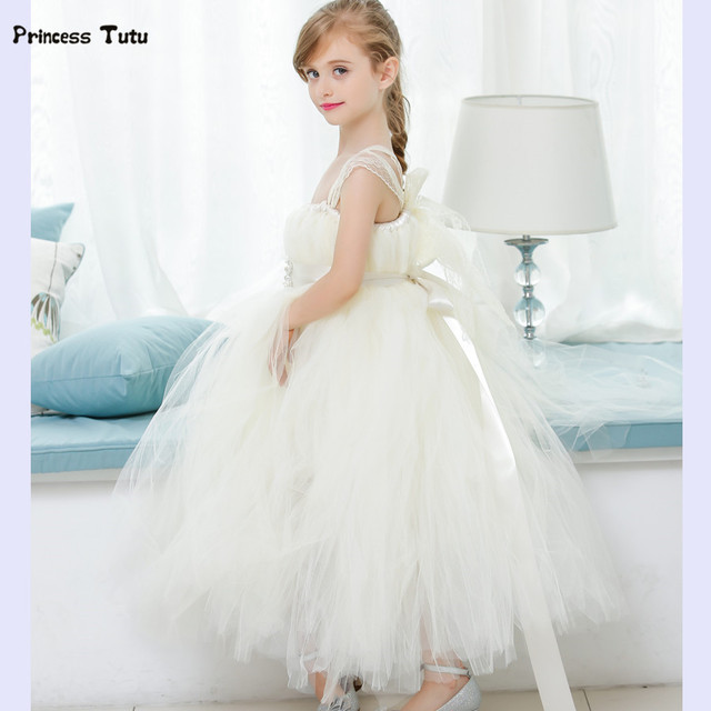 Aliexpress buy retail flower girl dresses for weddings cute retail flower girl dresses for weddings cute girls tutu dress creamy white lace tulle girls princess mightylinksfo