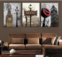3 Panel Frameless London City Wall Art Picture Canvas Oil Painting By Numbers High Quality Home