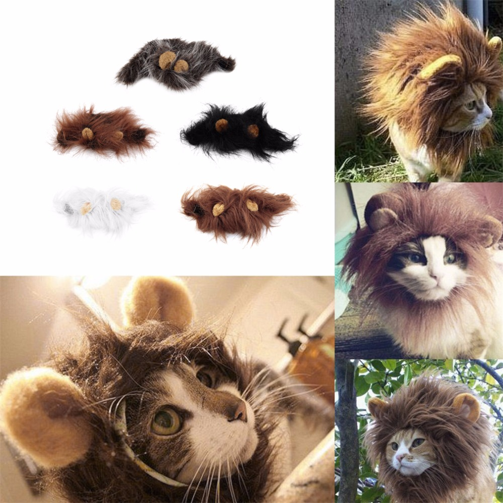 1 st Lovely Pet Costume Lions Mane Winter Warm Pruik Cat Halloween - Producten voor huisdieren - Foto 3