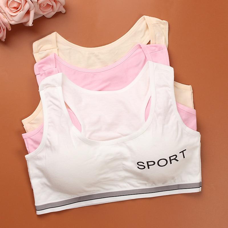 Teens Girls Sports Bra Puberty Gym Underwear Wireless Teenager Girls Sport Bra with Chest Pad Cotton Young Girls Training Bra