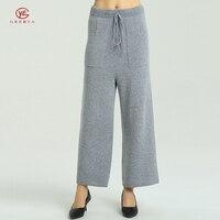 Geerya зима осень Широкие штаны для Для женщин Повседневное Drawsting кашемировые брюки одноцветное Цвет вязаная женская Мода ПР Одежда