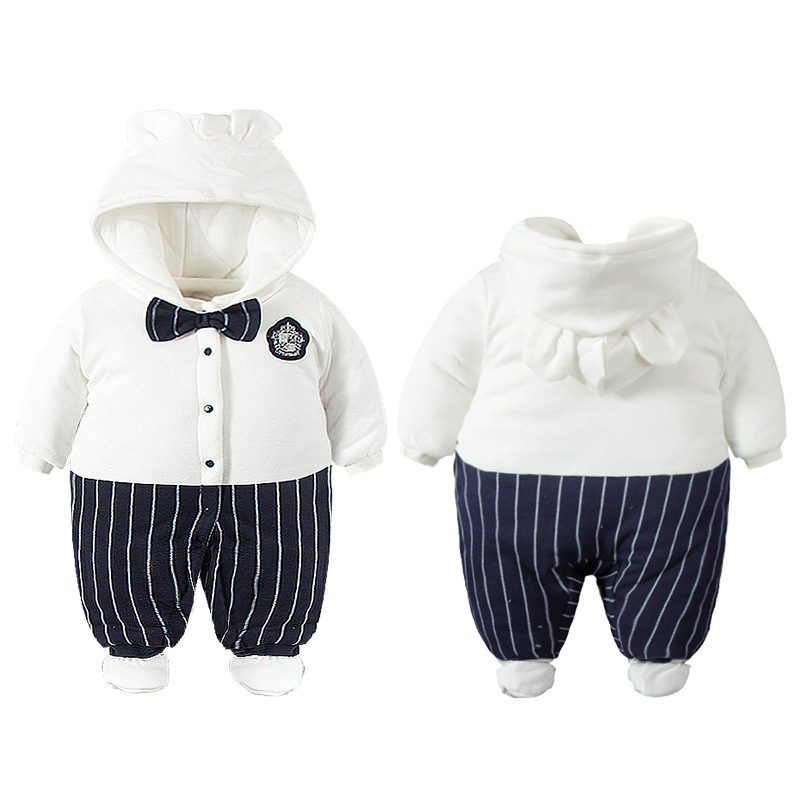 New style baby cotton hooded bow rompers boys thickening clothes fashion cute infant warm jumpers gentleman party outwear 17S907