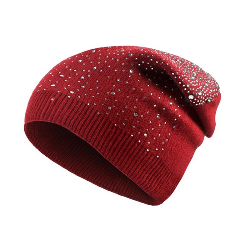 Soft Knitted For Women Bling Rhinestones Hats 2017 Winter Caps   Skullies     Beanies   Thick Warm Hedging Caps Gorro Bonnet Femme
