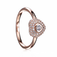 Authentic 925 Sterling Silver Ring Pave Love Heart With Crystal Surround Rings For Women Wedding Party