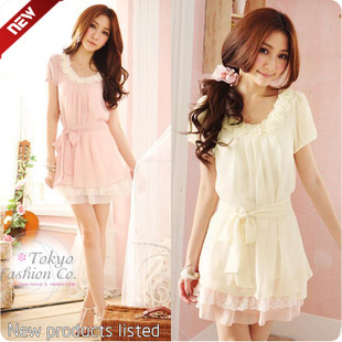 Free shipping,2013 summer women's dress,flower lace chiffon dress ,ruffle dress,novelty dress