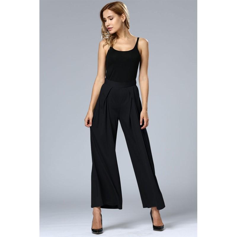 HTB1EkAkOFXXXXbmXpXXq6xXFXXXM - Wide Leg Pants High Waist Long Pants Button Office Work Wear PTC 186