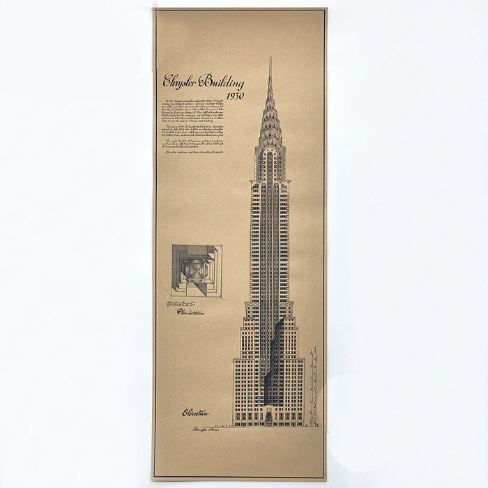 Free ship Antique Skyscrapers building Chart Paint Vintage Kraft Poster retro bar cafe living room wall sticker 80x30CM ZO-138