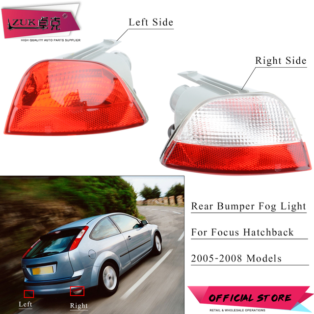 Zuk Auto Rear Per Fog Light Lamp Reflector Tail For Ford Focus 2005 2006 2007 2008 Hatchback 5 Door Without Bulbs
