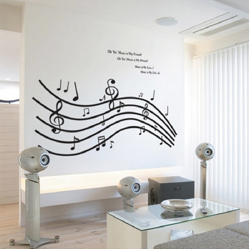 60 90cm five line staff musical note wall art home decorations wall stickers for music studio. Black Bedroom Furniture Sets. Home Design Ideas