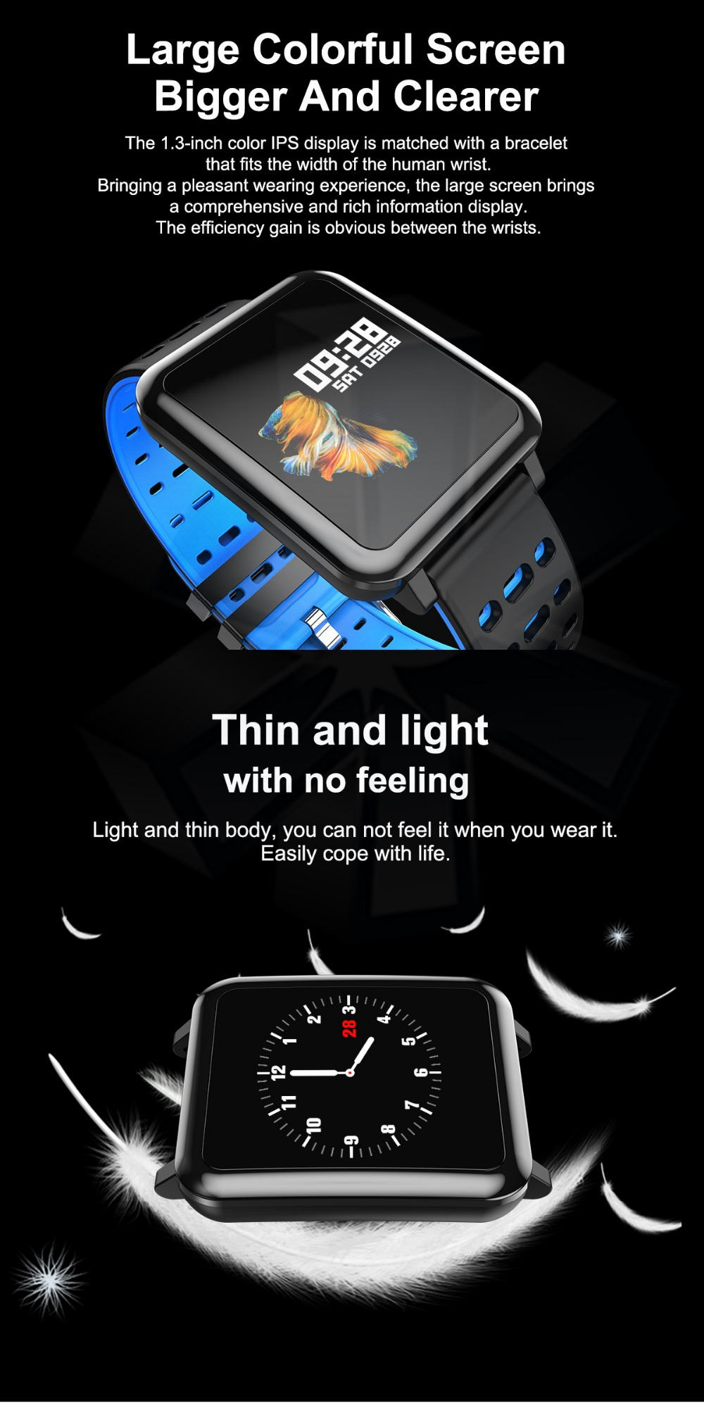 T2 Smartwatch IP67 Waterproof Wearable Device Bluetooth Pedometer Heart Rate Monitor Color Display Smart Watch For AndroidIOS (2)