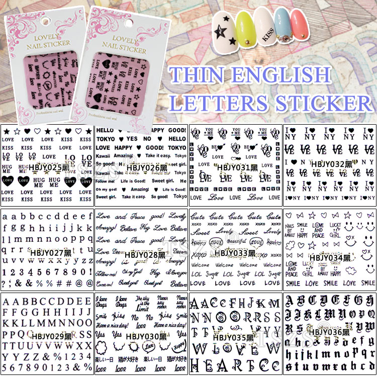 1bag/lot Nail Art 3D Decal DIY Stickers Cursive Alphabet Letters Black high quality canvas men casual shoes breathable fashion footwear male loafers shoes black mens shoes sales flats walking shoes