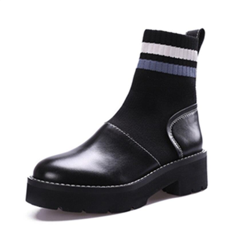 ce1296983f2d All Inverno Calzettoni Stivali Stirata Arrivo Black Piattaforme Calzini  Donna Pelle black E Scarpe Caviglia With ...