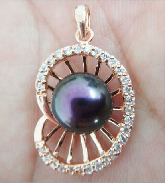 CHARMING12-13MM BLACK TAHITIAN PEARL ROSE GOLD PENDANT + GIFT NECKLACE