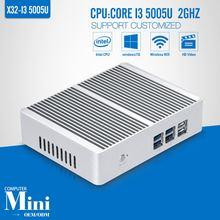 OEM/ODM Mini pc Dual core I3 5005U X86 6*USB HDMI+VGA DDR3 8G RAM 256G SSD WIFI Mini pc windows minii computer tv box