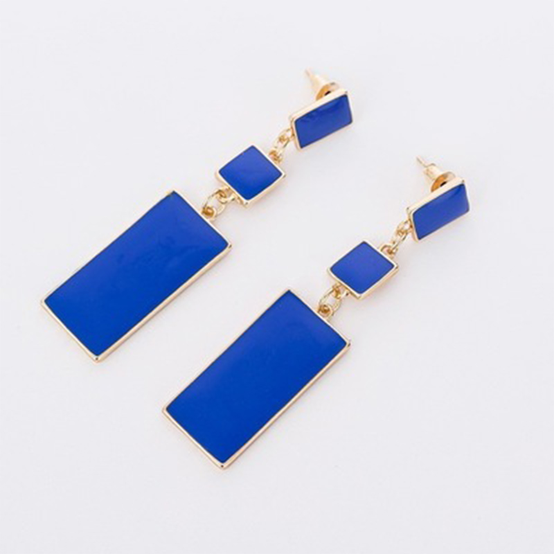 New Mode Style Deisgn Geometry Gold Color 4 Color Alloy Blue Enamel Drop Earrings For Women Long Earrings On Birthday Gifts