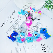 Creative PVC Soft Material Cute Cartoon Mermaid Flamingo Unicorn Star Dinosaur Keychain Pendant Girl Car Key ring Alloy Pendant(China)