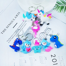 Creative PVC soft keychain cute cartoon mermaid flamingo star dinosaur key chain pendant female bag car ring alloy