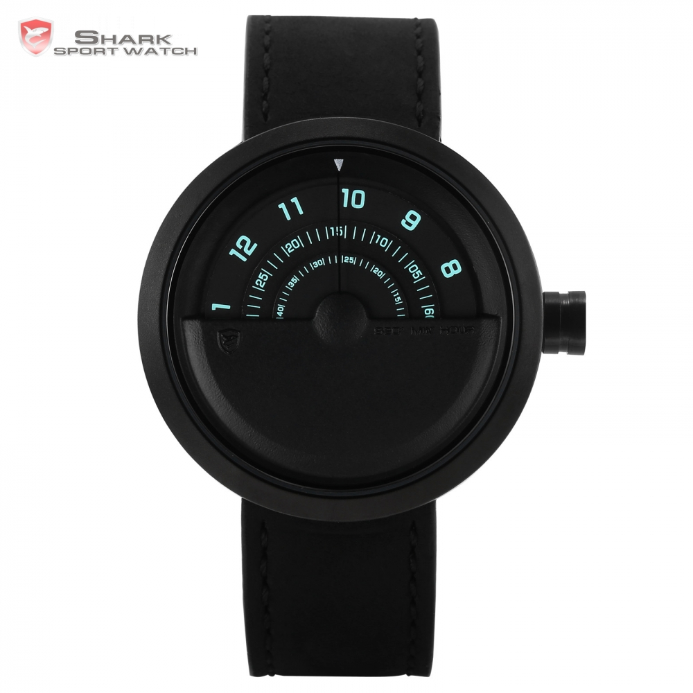Bonnethead Shark Sport Watch Black Rotate Turntable Dial Crazy Horse Soft Leather Strap Quartz Watches Male Men Gift Box / SH425 fashion black turntable rectangle dial quartz sport wrist watch black pu leather boy men creative digital watches