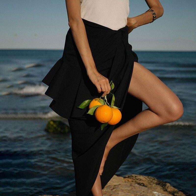 TWOTWINSTYLE Summer ไม่สม่ำเสมอกระโปรงผู้หญิงสูงเอว Ruffles แยก Slim Midi กระโปรงหญิงแฟชั่น 2019 Elegant ใหม่-ใน กระโปรง จาก เสื้อผ้าสตรี บน   2