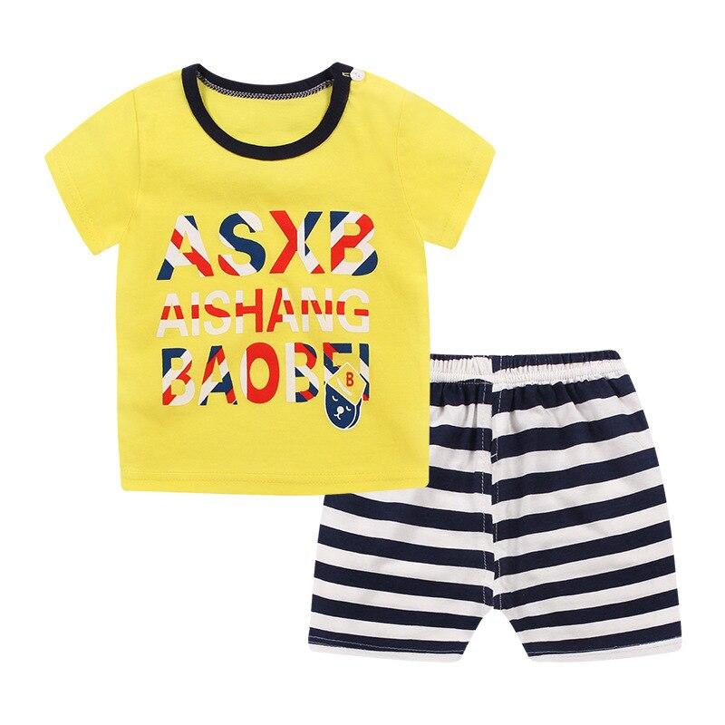 Мальчик комплект одежды летние дети костюмы для мальчиков случайный спорт Футболка Топы + полосатый Шорты 2 шт. наряды малышей мальчики одеж...