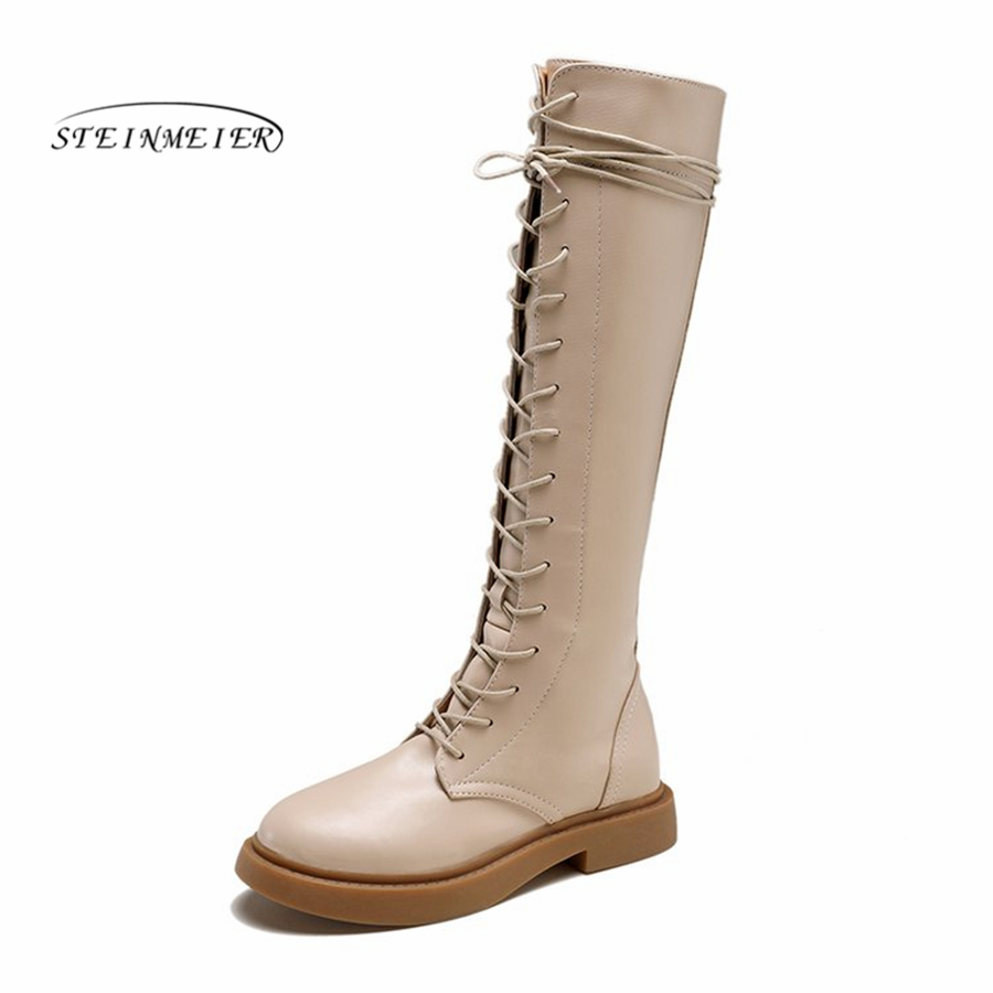 Women Knee High Boots PU zipper Round Toe 3cm Square Heels quality Leather snow Winter black Boots Femininas Long lace up Boots high quality full grain leather and pu mixed colors boots size 40 41 42 43 44 zipper design lace up decoration round toe boots