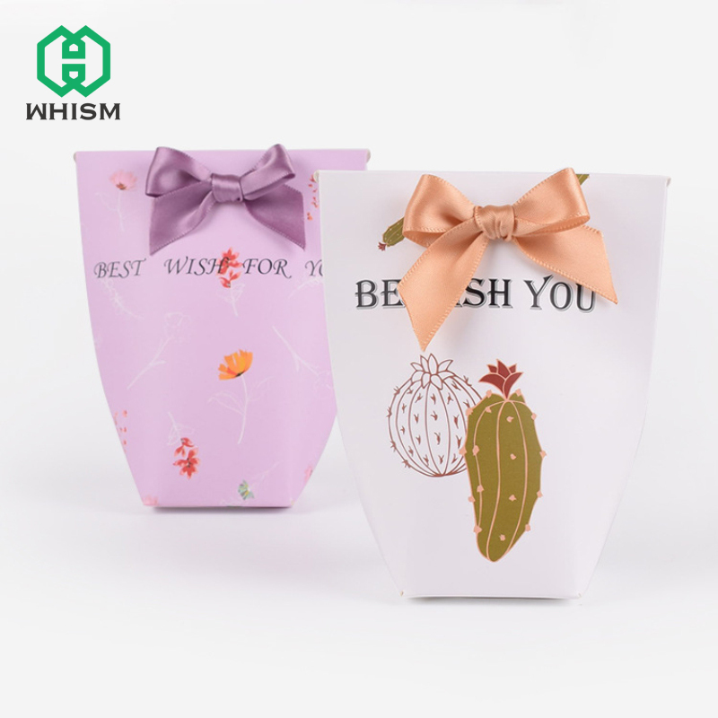 WHISM Candy Box Gift Paper Bag Baby Shower Birthday Kids Candy Gifts Boxes Wedding Favors Engagement Party Package Supplies