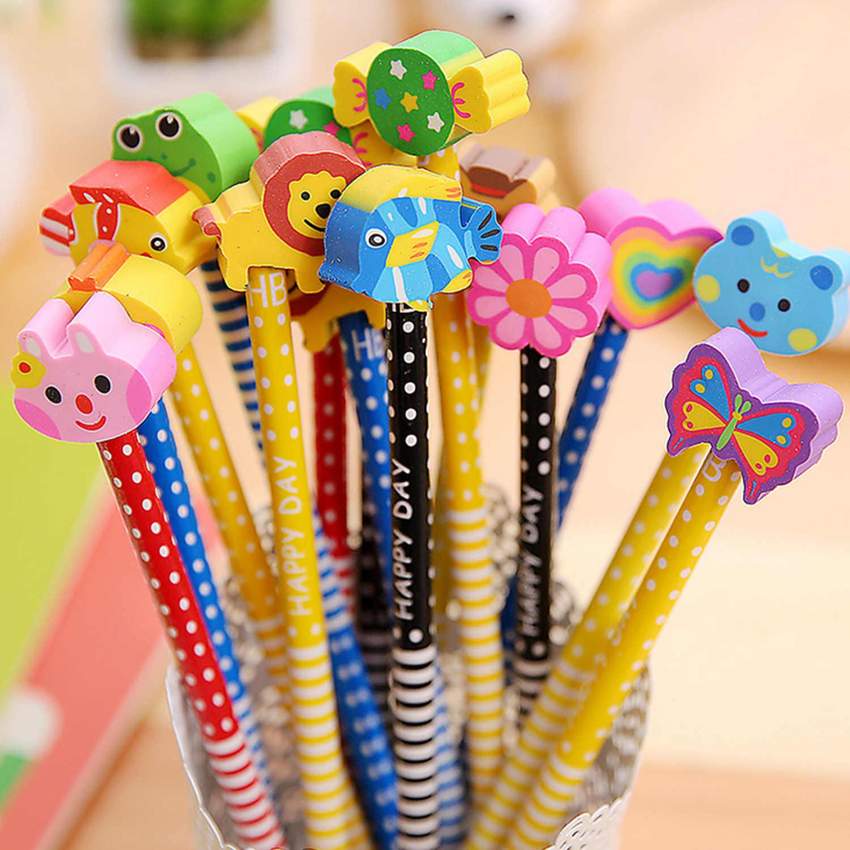40 pièces HB Crayon De Dessin Animé avec Gommes À Effacer Ensemble 1 pièces jolie boîte à crayons Pochette pour Enfants Fournitures Scolaires Garden Party Récompense Cadeaux
