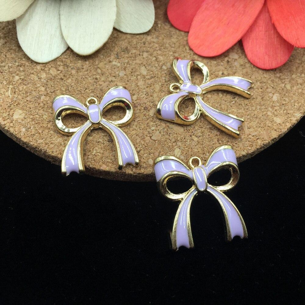 Wholesale 5PCs 18*20MM Oil Drop DIY Jewelry Bow Necklace Charm Pendants Gold Tone Enamel Alloy Enamel Bracelet NeCklace Pendant