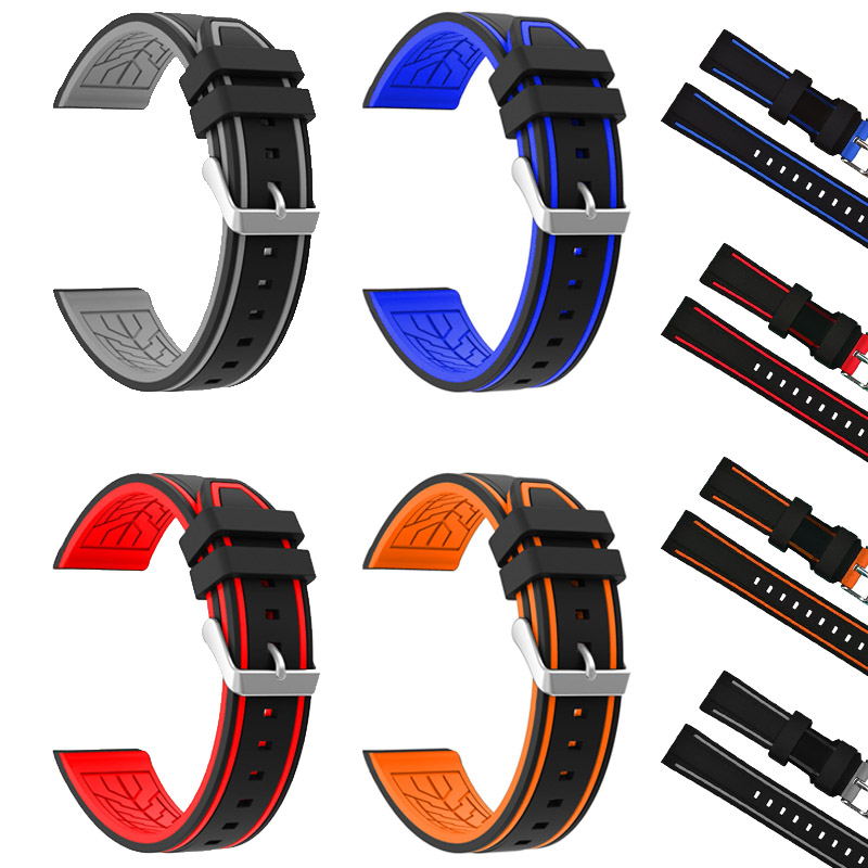 Silicone Watchband Black Diver Watch Band Rubber Watch Strap with Brushed Stainless Steel Buckle Clasp 20 22 24 26mm Watch Strap