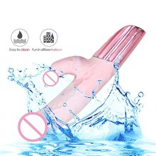 Ultra Realistic Dildo Vibrator Silicone Flexible 7-Frequency USB Rechargeable Waterproof G-Spot Clit Vibrating Massager Sex Toy