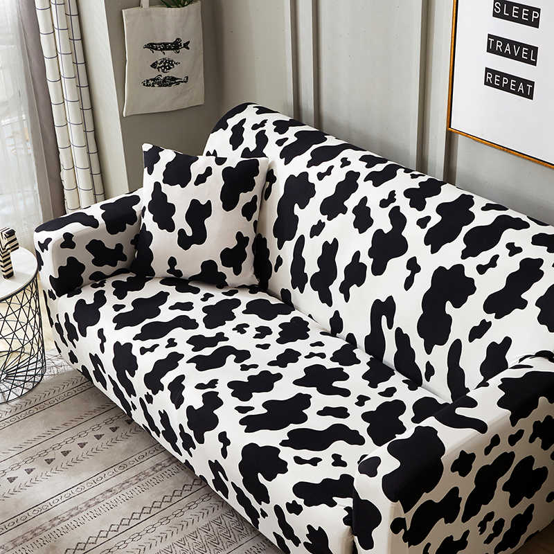 Black White Flower Cow Pattern Slipcover Stretch Four Season Sofa Covers Furniture Protector Polyester Loveseat Couch Cover