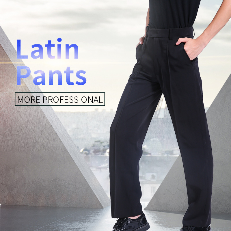 Boys Men Black Latin Pants Modern Ballroom Performance Latin Dance Pants